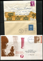 "Lot 349 [2 of 4]:1916-2000s Accumulation with slogans, adverts, meters, paids, indicias, also 'Last Day of Melbourne G.P.O. Circular Date Stamps' covers (16) incl Nos. 1-8,10-12, Faxpost Centre, Philatelic Sales, Bulk Stock, Bulk, & GPO Shop, plus 1934 Vic Centenary 2d & 3d on Orlo-Smith registered fdc, India 1948 cover with Gandhi 3½a registered from 'Bulk Registration, Melb.' boxed 'IRREGULARLY/POSTED' & oval 'T' & mss ""4"" and 3d & 1d Dues affixed to reverse. Mixed condition. (260+ Covers & 30+ fronts)"