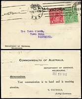 Lot 351 [1 of 5]:1930s-90s Official Post Cards from various State Govt Depts incl Dept of Agriculture, Country Roads, Forests Dept, Police Dept, Public Works, Public Health, Fisheries & Game, State Rivers,1942 double Censored card from National Museum, Melbourne to USA  etc. Also selection of Commonwealth Depts incl Dept. of Civil Aviation, PMG Dept, Dept of Defence, etc. Many adhesives perfin 'OS' or 'VG', some duplication on various issues. (Approx 80+)