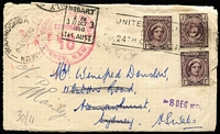 Lot 318 [3 of 7]:1937-54 Range incl 1941 Censored cover to USA, 1942 Censored commercial cover to USA with 'Supposed to Contain Matter....' handstamp diamond Censor mark, c1942 OHMS cover Mil P.O. Darwin to Hobart with 'Certified Official' handstamp, 1947 Commonwealth Dept. of Health parcel tag Perth to Busselton with 1½d QM& 6d Kooka, 1950 DEAD LETTER OFFICE cachet & label on cover, few KGVI World Wide FDCs, etc. Mixed condition. (24)