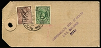 Lot 318 [1 of 7]:1937-54 Range incl 1941 Censored cover to USA, 1942 Censored commercial cover to USA with 'Supposed to Contain Matter....' handstamp diamond Censor mark, c1942 OHMS cover Mil P.O. Darwin to Hobart with 'Certified Official' handstamp, 1947 Commonwealth Dept. of Health parcel tag Perth to Busselton with 1½d QM& 6d Kooka, 1950 DEAD LETTER OFFICE cachet & label on cover, few KGVI World Wide FDCs, etc. Mixed condition. (24)