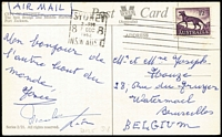 Lot 352 [2 of 6]:1939-2000s Airmail Postcard Rates with duplication to Austria, Canada, Denmark, GB, Hungary, New Zealand, Singapore, USA, etc. Rates incl 3d, 4d, 9d, 1/-, 1/2d Tasmanian Tiger (4), numerous decimal rates incl 8c, 13c, 15c, 18c, 20c, 25c, 40c, etc, various International Post. Several 'Radio Australia' cards for Indonesia broadcasts. Generally fine. (250+ +)