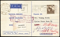 Lot 352 [3 of 6]:1939-2000s Airmail Postcard Rates with duplication to Austria, Canada, Denmark, GB, Hungary, New Zealand, Singapore, USA, etc. Rates incl 3d, 4d, 9d, 1/-, 1/2d Tasmanian Tiger (4), numerous decimal rates incl 8c, 13c, 15c, 18c, 20c, 25c, 40c, etc, various International Post. Several 'Radio Australia' cards for Indonesia broadcasts. Generally fine. (250+ +)