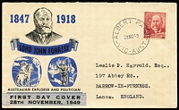 Lot 377 [3 of 9]:1940s-90s Accumulation with 'PAID' cancels (some red cds), slogans (some PAID), meters, FDCs incl 1946 'Mitchell' Peace FDC registered to Adelaide, 1949 'Miller Bros' Forrest FDC to GB, indicias, cds cancels incl few rubber types, few Shire covers, various advertising envelopes, Frama covers plus a few Austrian, Cuban & GB & Pitcairn Island Framas, etc.Also Victoria 1884 Solicitor-General Frank on OHMS circular to Redbank (fair backstamp) and re-directed to St. Arnaud, plus 1998 Leunig 'Teapot' stamp booklet. Mixed condition. (Few 100)