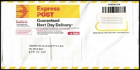 Lot 357 [3 of 6]:1970s-2000s Express Mail Covers with duplication incl numerous types, various instructional markings incl 'Incorrectly posted...', 'Outside Next Day Network...', 'Delivery Guarantee Void...', 'Express Post eParcels', etc, many different sized envelopes. Also 4 'OVERSEAS EXPRESS DELIVERY' to GB, Canada, USA & Czechoslovakia. Generally fine. (200 approx)