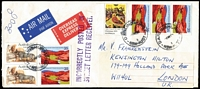Lot 357 [1 of 6]:1970s-2000s Express Mail Covers with duplication incl numerous types, various instructional markings incl 'Incorrectly posted...', 'Outside Next Day Network...', 'Delivery Guarantee Void...', 'Express Post eParcels', etc, many different sized envelopes. Also 4 'OVERSEAS EXPRESS DELIVERY' to GB, Canada, USA & Czechoslovakia. Generally fine. (200 approx)