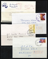 Lot 382 [1 of 2]:1970s-90s Accumulation from most States with 'PAID' cancels (some red, some black), slogans (some PAID), meters, Priority Paid, Certified, Security Post, Registered, indicias, cds cancels incl few rubber types, various advertising envelopes, 'Greetings from...' envelopes, few Christmas card rate covers, etc. many large covers & several pieces Mixed condition. HEAVY LOT (6.5kg). (100's)