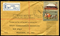 Lot 381 [2 of 5]:1970s Registered 'Business Reply Post' Covers to Deputy Commonwealth Statistician, Melbourne with additional registration fee paid in stamps incl several with $2 Painting single frankings, and various other rates, few 'Greetings from ...' covers & overseas PPCs. Mixed condition. (40+)