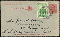 Lot 364 [2 of 2]:1937-42 P11½ 2d Red on Cream ACSC LC65, P13½ 2d red on grey (2, one with admonition on front & inside uprated 2d & Late Fee cds), P10 2d red on grey ACSC LC68B with 'RELIEF/29MR41/No.2.' cds. Generally fine. (4)