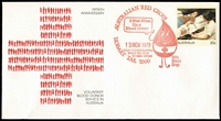 Lot 320:Pre-Stamped Envelopes: 1979 'Billy Blood Drop' pmk in red (APM 8020) on 7 Blood Donor unaddressed PSEs plus 3 red cancels on plain envelopes, and 8 black cancels on 6 Blood Donor PSEs & 2 plain envelopes. (APM Cat $1,050+). (18)