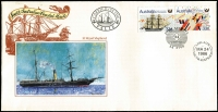 Lot 369 [2 of 3]:1937-86 Pictorial Cancels: incl 1937 Airmail Exhibition, Melbourne, to Fremantle, (APM 410), 1985 Fremantle Yacht cds on 3 sets of 22 covers by Philatelic Council of WA, 1986 South Aust Coastal Mails, 2 sets of 5 on A.Post Souvenir covers with cachets (APM16870), 1986 Jubilee Trade Train TPO cancels, 2 sets of 22 illustrated covers showing the 22 towns on map that the train visited along with cds (some illustrated) from those towns. (136)