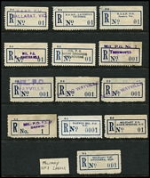 Lot 388 [2 of 8]:Registered Label 'No. 1' All States Accumulation: (ex WA) on 59 Hagners incl many types from NSW Type C3, C4 & C4A (all No. 1) all red, Type C3, C4, C5 (black numerals), C5A, (all No. 1), C6 (No. 01, 001, 0001), N.T. Type C6 (001, 0001), Qld M6A (No. 1), C5A (No. 1), C6 (No. 1, 001, 0001), S.Aust S3A, 3B, S5 or M3, C3, C4 all in red, Type C1, C3, C5, C5A C6 (No.01,001, 0001), Tas Type Type C6 ( No.1, 001, 0001), Victoria incl V2B, C3, C4 all red, Type C1, C3, C4 (all No. 1), C5a, Type C6 (No. 01, 001, 0001). There are numerous provisionals with mss, hand stamped, typed, perforated or rouletted, coils, few Military labels, and all arranged in alphabetical order within their category. Condition is very mixed. (1,000s)