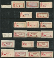 Lot 388 [1 of 8]:Registered Label 'No. 1' All States Accumulation: (ex WA) on 59 Hagners incl many types from NSW Type C3, C4 & C4A (all No. 1) all red, Type C3, C4, C5 (black numerals), C5A, (all No. 1), C6 (No. 01, 001, 0001), N.T. Type C6 (001, 0001), Qld M6A (No. 1), C5A (No. 1), C6 (No. 1, 001, 0001), S.Aust S3A, 3B, S5 or M3, C3, C4 all in red, Type C1, C3, C5, C5A C6 (No.01,001, 0001), Tas Type Type C6 ( No.1, 001, 0001), Victoria incl V2B, C3, C4 all red, Type C1, C3, C4 (all No. 1), C5a, Type C6 (No. 01, 001, 0001). There are numerous provisionals with mss, hand stamped, typed, perforated or rouletted, coils, few Military labels, and all arranged in alphabetical order within their category. Condition is very mixed. (1,000s)