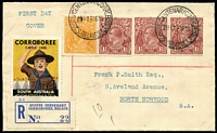 Lot 915 [1 of 2]:1936 Centenary Corroboree: First Day cds (28DE36 - APM380), 2 strikes, both tying ½d orange & 1½d brown KGV x3 to cover alongside special registered label with Coroboree cinderella, backstamps incl Adelaide & Norwood. [APM states....on cover with registered label, one sold at auction Oct 2012 for $412!!!]