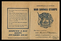Lot 781 [2 of 2]:WWII No Wmk 6d 'Spitfire' P14 (11) affixed to War Savings Stamp Booklet, small pen illustration at upper left.