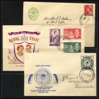 "Lot 234 [3 of 3]:1931-70s Cover Accumulation iincl 1931 1st Flight (Nov) to GB on special envelope with 'Air Mail/from Launceston/Reference No (mss ""129"")' handstamp, 1953 'RELIEF No 4./31DE53/TAS-AUST' cds on Scout logo cover to West Tamar, few FDC incl 1966 Hartog on WAPEX cover with red pictorial cancel, APost 1970 EXPO (2, addressed), Miller Bros, etc, also few foreign covers incl 1972 Commercial airmail cover Djibouti (TFAI) to Ethiopia, GB, Japan, etc. Generally fine. (Approx 70)"