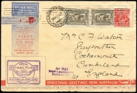 "Lot 234 [1 of 3]:1931-70s Cover Accumulation iincl 1931 1st Flight (Nov) to GB on special envelope with 'Air Mail/from Launceston/Reference No (mss ""129"")' handstamp, 1953 'RELIEF No 4./31DE53/TAS-AUST' cds on Scout logo cover to West Tamar, few FDC incl 1966 Hartog on WAPEX cover with red pictorial cancel, APost 1970 EXPO (2, addressed), Miller Bros, etc, also few foreign covers incl 1972 Commercial airmail cover Djibouti (TFAI) to Ethiopia, GB, Japan, etc. Generally fine. (Approx 70)"