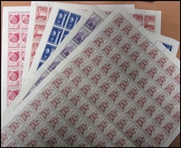 Lot 215:1953-57 3½d Sheets or Blocks Accumulation incl 1954 Royal Visit (approx 200), Telegraph Centenary, Red Cross (2 sheets, incl short left arm [R10/4]), 1954 WA Centenary, Railway, ANARE, 1955 Rotary, Aust-American (2 sheets), Nursing, SA Centenary, etc, also Royal Visit 7½d (38). Generally fine. (100s in sheet file)