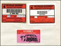 Lot 177 [2 of 3]:Ancillary Labels in 2 notebooks incl imperf & perforated Certified labels, Receipted Delivery, Priority Paid labels & handstamps, Security Post, Parcel Post labels, Overnight Parcel Service Delievered by Australia Post, Skyroad, few DX labels plus large group of 1990-92 slogans on piece, many from ACT, NSW or Vic, also some M/C cancels. Mixed condition. (100s)