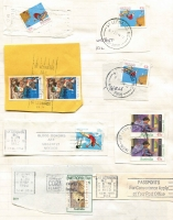 Lot 177 [3 of 3]:Ancillary Labels in 2 notebooks incl imperf & perforated Certified labels, Receipted Delivery, Priority Paid labels & handstamps, Security Post, Parcel Post labels, Overnight Parcel Service Delievered by Australia Post, Skyroad, few DX labels plus large group of 1990-92 slogans on piece, many from ACT, NSW or Vic, also some M/C cancels. Mixed condition. (100s)