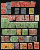 Lot 167:Perfins A selection of perf 'T' (strength in ½d green & 2d red) & 'WA' mainly on KGV stamps. Few pairs. Mixed condition. (150+)