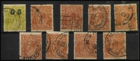 Lot 240 [2 of 5]:Roos & KGV Accumulation incl Roos 4d orange (2), 3rd Wmk 2/- brown, maroon, KGV 1d reds (17, incl Die II), various others (with strength in 2d reds wmk inv) to 5d (8), 1/4d. few optd 'OS' incl 4d olive, few perf 'OS'. Mixed condition. (100s)