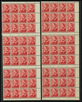 Lot 304 [2 of 2]:1966-80s Decimal selection with few varieties incl 1970 Cook 5c block of 20 with gutter, one unit red sail variety, 1970-71 2c coil, strip of 7 showing light off-set on reverse, 1973 Crab 2c block of 6, 2 units with doctor blade flaw, 1974 $4 Painting corner block of 4, one unit ink blob, 1974 Christmas 10c corner block of 4 showing misplaced perfs in margin due to paper fold, etc, many minor varieties and single stamps with sheet numbers. Also few AAT issues & KGVI items incl No wmk ½d Roo with ear to 'O' flaw in positional blocks of 20 (2), 1951 3d scarlet, 4 vertical blocks of 18 from uncut booklet panes. 1951-53 3d dark green marg block of 40, one unit scratch on King's face, 3½d imprint pair, one unit ink blob, etc. (100s)