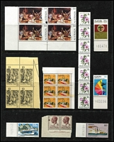 Lot 304 [1 of 2]:1966-80s Decimal selection with few varieties incl 1970 Cook 5c block of 20 with gutter, one unit red sail variety, 1970-71 2c coil, strip of 7 showing light off-set on reverse, 1973 Crab 2c block of 6, 2 units with doctor blade flaw, 1974 $4 Painting corner block of 4, one unit ink blob, 1974 Christmas 10c corner block of 4 showing misplaced perfs in margin due to paper fold, etc, many minor varieties and single stamps with sheet numbers. Also few AAT issues & KGVI items incl No wmk ½d Roo with ear to 'O' flaw in positional blocks of 20 (2), 1951 3d scarlet, 4 vertical blocks of 18 from uncut booklet panes. 1951-53 3d dark green marg block of 40, one unit scratch on King's face, 3½d imprint pair, one unit ink blob, etc. (100s)