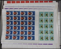Lot 281:1966-70s low value commems in complete sheets or large blocks incl 4c (348), 5c (1,040 incl 1966 5c Bird sheet of 100, 1969 Flight 2 sheets of 100), 6c (1,280), 7c (450). Numerous varieties abound on these sheets. Face Val $175 (3,100+)