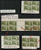 Lot 618 [2 of 2]:1966-72 75c Navigators in blocks of 4 or 8, some from 1st print with varieties incl Extensive re-cutting at base, Spur on back of C, Re-cutting on map, vertical gutter block of 8 (4x2), with varieties also horizontal gutter block of 4 with folded gutter [see note in Brusden White re folded gutter] BW #462,b,c,cad,g,, Cat $365++. (5 blocks)