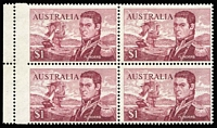 Lot 621:1966-74 $1 Flinders block of 4 with two units showing variety 5mm Jumped perforations. BW #463bc, Cat $200.