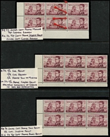 Lot 620 [3 of 3]:1966-74 $1 Flinders with annotated varieties in corner blocks of 4 (2) or 6 (4) with Left frame missing for 4-5mm from base, and top left corner broken, various recuts, missing frames, broken corners, etc, also Plate 3 bottom centre vertical pair. Good lot for specialist. BW #463, Cat $400+. (7 blocks)