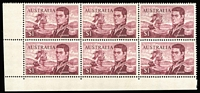 Lot 620 [1 of 3]:1966-74 $1 Flinders with annotated varieties in corner blocks of 4 (2) or 6 (4) with Left frame missing for 4-5mm from base, and top left corner broken, various recuts, missing frames, broken corners, etc, also Plate 3 bottom centre vertical pair. Good lot for specialist. BW #463, Cat $400+. (7 blocks)