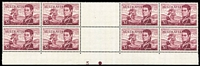 Lot 619:1966-74 75c Navigators Plate No 3 in block of 8 from base of sheet also $1 P14¼ gutter block of 8 (with central fold) with Plate no. 3 at base. BW #462zg,463zb. (2 blocks)