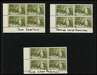 Lot 259 [3 of 5]:1966-74 Navigators in corner blocks with 40c (3), 50c (3), 75c (3), $1 (6), $2 (7) & $4 (6). Most showing UV reactions incl orange, pink, bright pink, blue, mauve, yellow and even a blue/pink sparkle!!. Face value approx $200. (28 blocks)