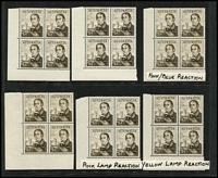 Lot 259 [1 of 5]:1966-74 Navigators in corner blocks with 40c (3), 50c (3), 75c (3), $1 (6), $2 (7) & $4 (6). Most showing UV reactions incl orange, pink, bright pink, blue, mauve, yellow and even a blue/pink sparkle!!. Face value approx $200. (28 blocks)