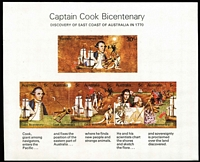 Lot 299 [2 of 4]:1970 Captain Cook 5c complete sheet plus 34 strips in blocks (2 strips with red mark on sail variety), 30c pane of 20, M/S (2) plus unopened pack. (290+ items)