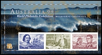 Lot 297 [2 of 3]:1999 Aust '99 perf M/Ss (2 sets, incl Pack), imperf M/S (2 sets), perf set with APF opt, perf 'A99' (2 sets), plus 2001 Federal Parliament 45c M/S optd '1952-2002/Ringwood & District Philatelic Society/50th Anniversary', also 1978 'El Dorado' pict cancel FDI for Adelaide on special APO cover with green handstamp. (16 items)