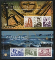 Lot 347 [1 of 2]:2004 Stamp News Opts celebrating 50 Years of continuous publication in gold on Aust 99 imperf M/Ss, 3 sets comprising one MUH, one CTO & on 2 M/S on individually illustrated Wesley commem covers signed by Bill Hornadge & Kevin Morgan. (6 items)