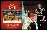 Lot 344:2013 Coronation M/S optd in gold with APTA logo & 65th Anniversary of APTA/River Cruise 11 May 2013/ 78/85'.