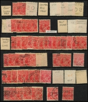 Lot 232 [1 of 2]:1½d Red Accumulation with varieties, shades, many with plate positions pencilled on the reverse. Mixed condition. (100+)