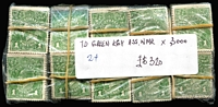 Lot 220:1d Green mixed wmks in bundles of 100 x30, incl few perf 'OS'. (3,000)