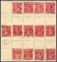 Lot 529 [2 of 3]:1d Red collection in small stockbook sorted into shades & papers with most appearing correct. Generally fine. (175)
