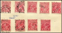Lot 299 [2 of 5]:Accumulation incl Single Wmk incl 1d red (47), 1d violet (7, MLH/MUH), 4d orange (3), 4d olive (6), 4½d (9), 5d (3), 1/4d, LM Wmk 1d red (9), 1d green (block of 4, 3 units MUH), SM Multi wmk 3d Die I (21), Die II (18), 4d olive (6), 4½d (20) 1/4d (2). Many varieties throughout. Very mixed condition. (Few 100)