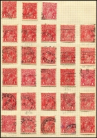 Lot 299 [1 of 5]:Accumulation incl Single Wmk incl 1d red (47), 1d violet (7, MLH/MUH), 4d orange (3), 4d olive (6), 4½d (9), 5d (3), 1/4d, LM Wmk 1d red (9), 1d green (block of 4, 3 units MUH), SM Multi wmk 3d Die I (21), Die II (18), 4d olive (6), 4½d (20) 1/4d (2). Many varieties throughout. Very mixed condition. (Few 100)
