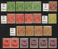 Lot 239:CofA Wmk Selection incl 4d olive, 5d brown (4, two MUH), plus 2d Surcharge (2), 5d (4). (20)