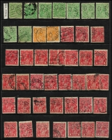 Lot 230 [2 of 4]:Perf 'OS' Accumulation incl Single wmk 1d red (33), Die II (3), 1½d green (5), 4d orange/lemon (9) 4d violet, 5d (5), 1/4d (4), LM wmk, SM wmk P14 4½d (2), SM P13½x12½ 1d green Die II (2), 3d Die I (7), Die II (9), 4d olive (7), 5d (3), 1/4d (3). Mixed condition. (280+)