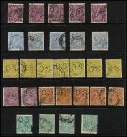 Lot 230 [3 of 4]:Perf 'OS' Accumulation incl Single wmk 1d red (33), Die II (3), 1½d green (5), 4d orange/lemon (9) 4d violet, 5d (5), 1/4d (4), LM wmk, SM wmk P14 4½d (2), SM P13½x12½ 1d green Die II (2), 3d Die I (7), Die II (9), 4d olive (7), 5d (3), 1/4d (3). Mixed condition. (280+)