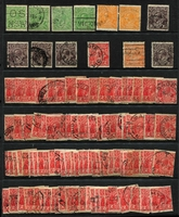 Lot 171:Watermark Inverted selection incl Single wmk ½d green (4), orange (2), 1½d black-brown (4), 2d red, orange, LM wmk 1½d black-brown plus CofA wmk (100). (113)