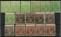 Lot 274:Accumulation incl ½d green (6, shades), 1d green, 1½d black-brown (5),  red-brown (4). Generally fine. (16)