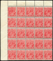 Lot 735:1½d Red Electro 17 [L-1-5/.../L25-29] BW #90(17) marginal block of 25, 4 units toned and minor perf separations, Cat $1.250++.